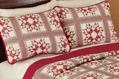 Set Standard Quilted Pillow Sham Shams 2 Allspice Patchwork Starburst Fall New