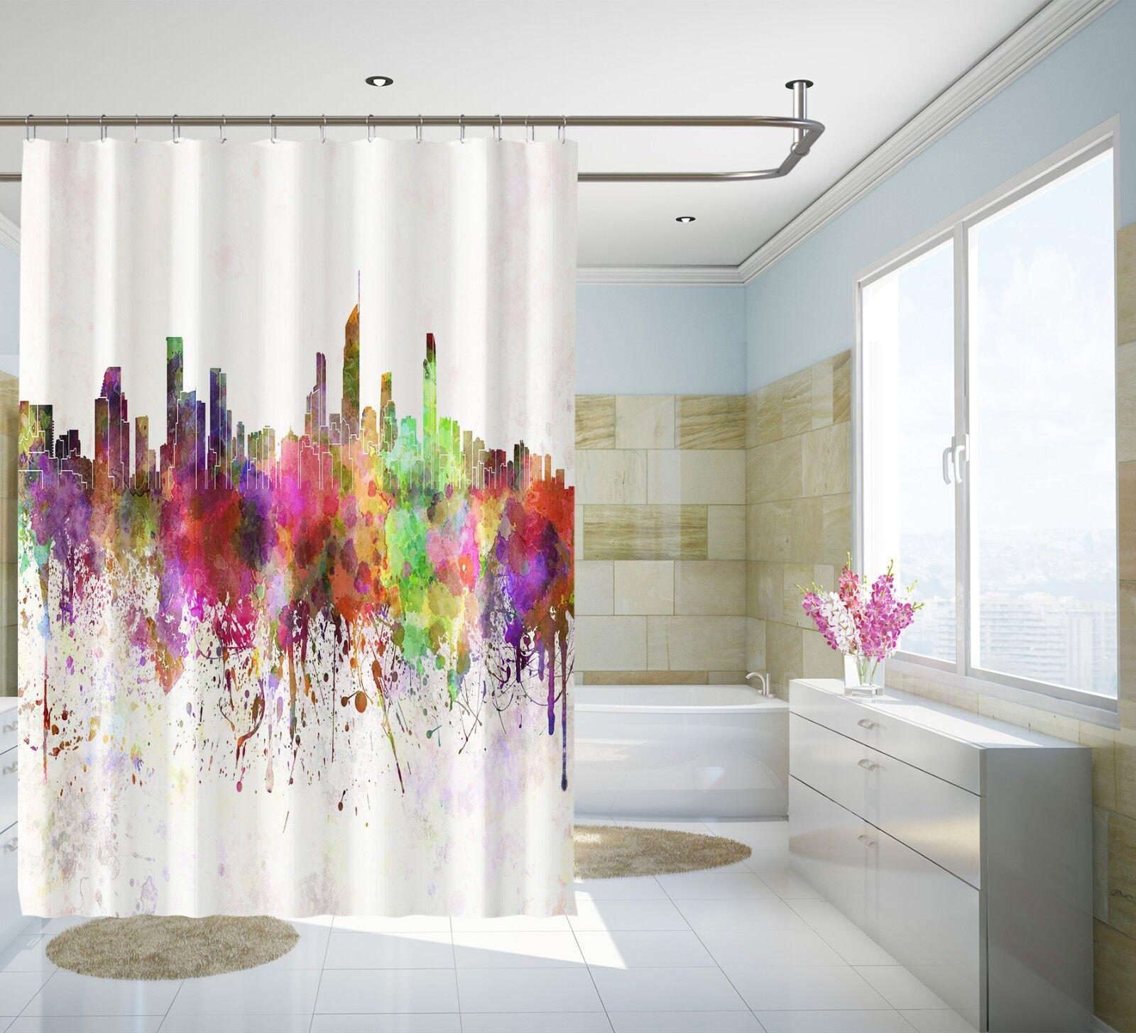 3d Color ciudad 24 cortina de ducha impermeable fibra baño en casa Windows inodoro de