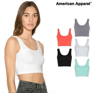 American-Apparel-Women-039-s-Tank-Crop-Top-8384-Stretch-Fitted-Cotton-Spandex