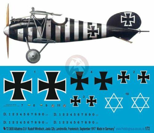 Peddinghaus 1//72 Albatros D.V Markings Rudolf Windisch Jasta 32b France WWI 3655