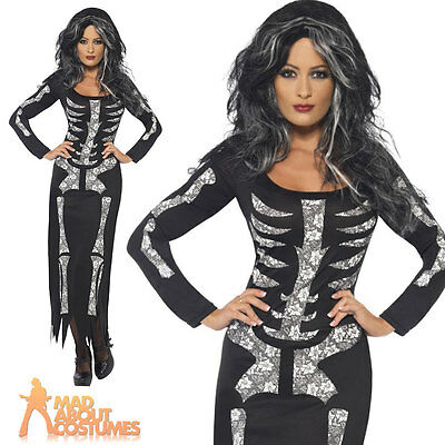 Ladies Skeleton Long Tube Dress Costume Womens Halloween Fancy Dress Outfit