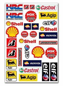Set-31-PVC-Vinyle-Autocollants-Agip-Elf-Shell-Castrol-Stickers-Voiture-Auto-Moto