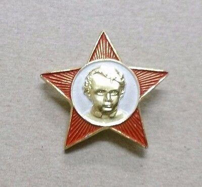 USSR Soviet Russian School Lenin Communist Octobrist Red Star Pin Badge /_ CCCP