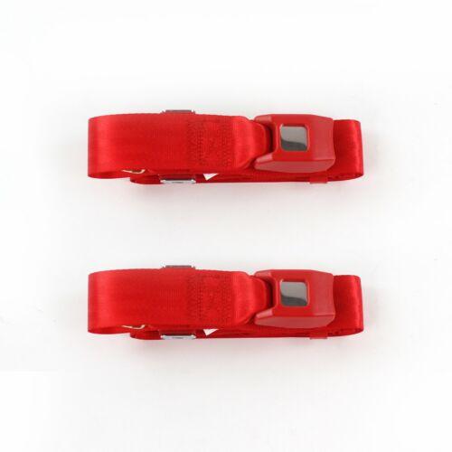 Early Cars 1941-1948 Standard 2pt Red Lap Bucket Seat Belt Kit 2 Belts truck