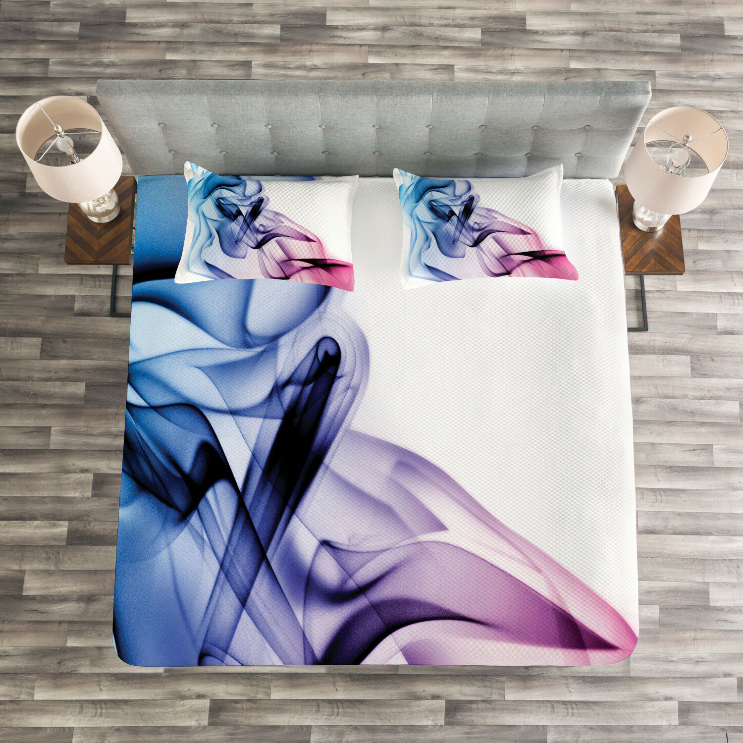 Abstract Quilted Bedspread & Pillow Shams Set, colorful Smoke Flow Print