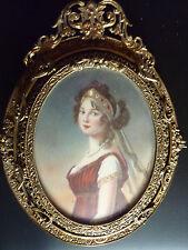 Miniatur Königin Luise v. Preussen Bronzerahmen miniature portrait  ormolu frame