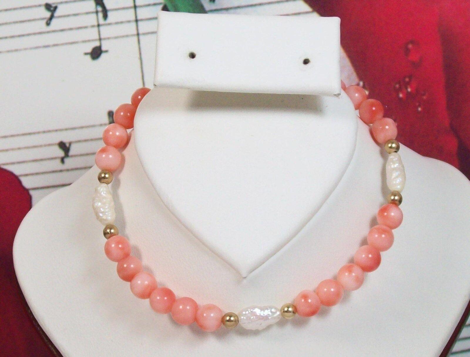 Genuine Coral Beaded Bracelet 6.5  with 14K gold Filled. 100% Natural. DCRB002
