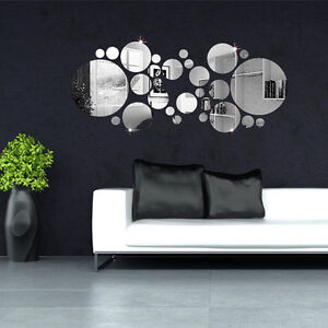 30x DIY Rund Kreis Wandtattoo Spiegel Aufkleber Sticker Wand ...