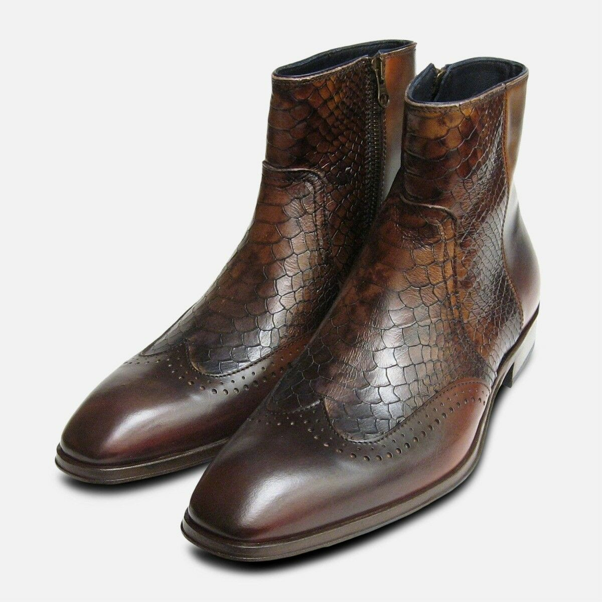 Designer Mens Brown Snakeskin Zip Boot