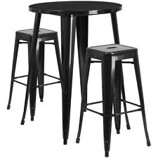 30'' Round Black Metal  Bar Table Set W/2 Square Seat Backless Barstools