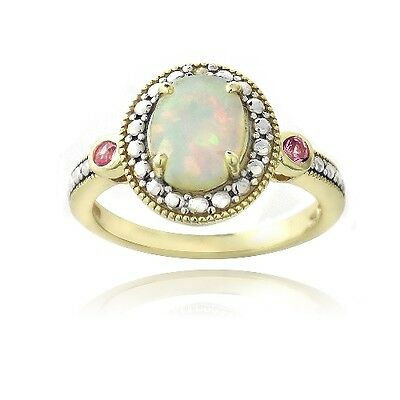 Gold Tone over Silver Diamond Accent Created White Opal &Pink Sapphire Oval Ring