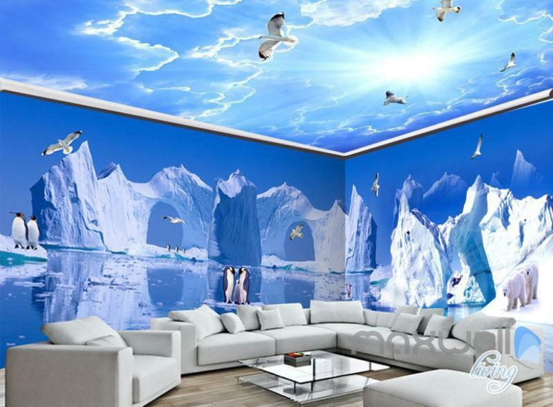 3D Iceberg Penguin Blau Sky Ceiling Entire Living Room Wallpaper Wall Mural Art