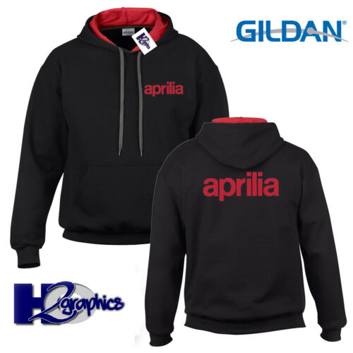 New Mens Aprilia Tribute Contrast Hoodie Hooded Top Sizes Small to 2XL
