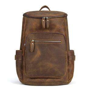 Image is loading Mens-Vintage-Leather-Backpack-Rucksack -Laptop-Travel-School- 9bc5ed0f0405
