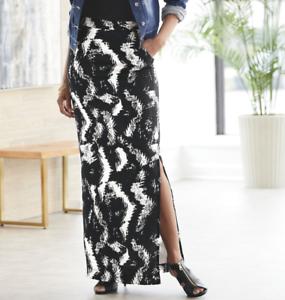 Ashro-Black-White-Everly-Side-Slit-Maxi-Skirt-Size-2X-20W-22W-3X-24W-26W-PLUS