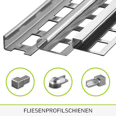 HORI/® Fliesenprofil I Winkelprofil aus Edelstahl St/ück L/änge /á 2,50 m I H/öhe 8 mm I gl/änzend