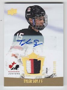 2015-16-UD-CANADA-JUNIORS-TYLER-SOY-AUTO-PATCH-103-199-Game-Used-138-Ducks