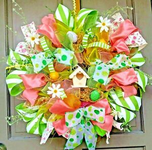 Handmade-24-034-Spring-Deco-Mesh-Easter-Floral-Wreath-Coral-amp-Green-Door-Decor