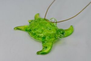 Hanging Sea Turtle Green Figurine of Blown Glass Crystal
