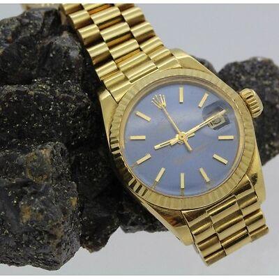3. Ladies 18k Yellow Gold Blue Dial Rolex Ref 6917 Presidential Wrist Watch Lot 3