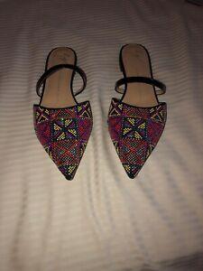 NIB-Giuseppe-Zanotti-Design-Women-s-Rhinestone-Pointed-Toe-Flats-Mules-Size-40