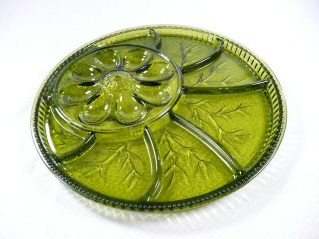 Vintage Green Glass Platter Deviled Egg Relish Vegetable 12-3/4