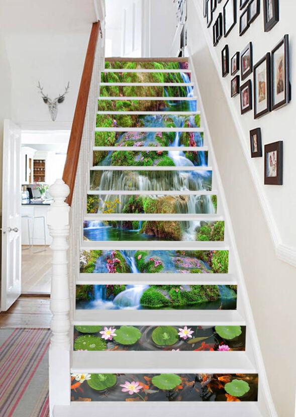 3D Lotusblatt Bach Stair Risers Dekoration Fototapete Vinyl Aufkleber Tapete DE