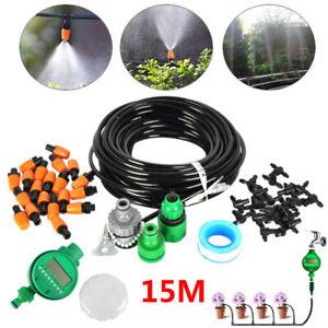 15m-Watering-Irrigation-System-Sprinkler-Drip-Garden-Hose-DIY-W-Automatic-Timer