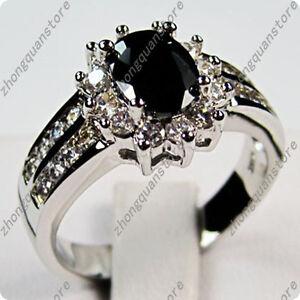 Argent 925 Ovale Cut Black Sapphire Zircon Mariage Bande Bague Bijoux Taille 5-12-afficher Le Titre D'origine Exquis (En) Finition