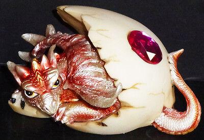 "RUBY  JULY  Birthstone Dragon in Egg Shell  3""    Figure Statue"