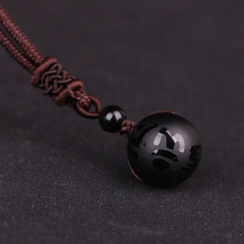 Natural Obsidian Rainbow Eye Transfer Good Luck Bead Pendant Rope Necklace NEW