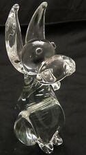 Clear Glass Sitting Long Eared Dog Figurine