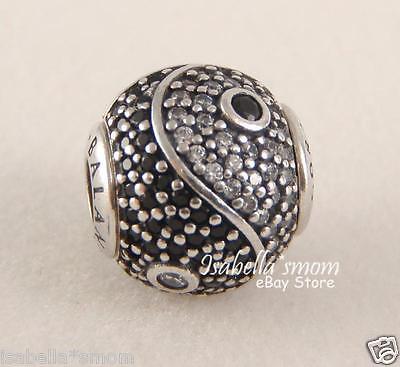 BALANCE YIN-YANG Genuine PANDORA Silver/CZ Stones ESSENCE COLLECTION Charm~Bead