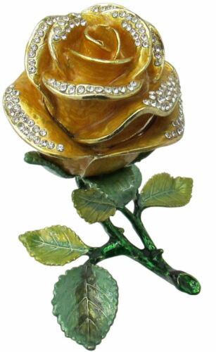 Yellow Rose Jeweled Trinket Box with Austrian Crystals