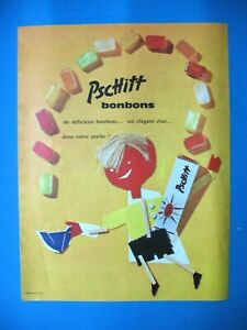 PUBLICITE-DE-PRESSE-PSCHITT-BONBONS-FOURReS-COLLAGE-MONTAGE-TISSU-AD-1962