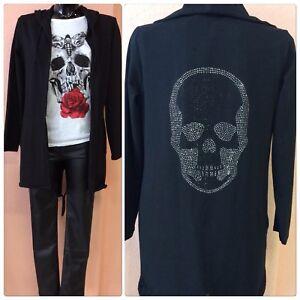 Skull Zu Jacke Strass Schwarz Cardigan Trendy Blogger Sweater Neu Damen Details Totenkopf tQhdsr