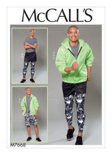 McCalls Sewing Pattern M7668 Mens Running Leggings Shorts Jacket S-l ...