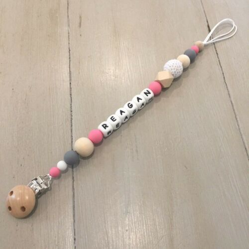 Personalised Name Sensory Quality Holder Pacifier//Dummy//Teether Clip