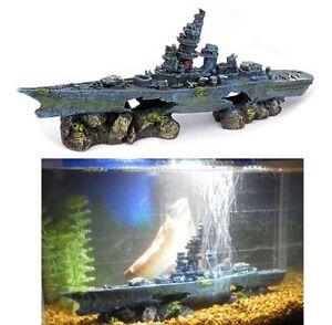 Boat sunken ship fish tank aquarium ornament decor wreck for Fish tank shipwreck