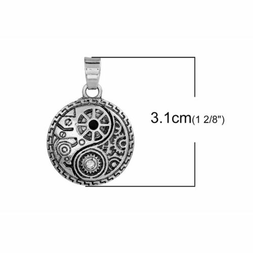 Doctor Who Gears 31mm Antiqued Silver Plated Pendant C3186-1 2 Or 5PCs