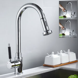 Kitchen Sink Mixer Taps Pull Out Single Lever Swivel Spout Mono