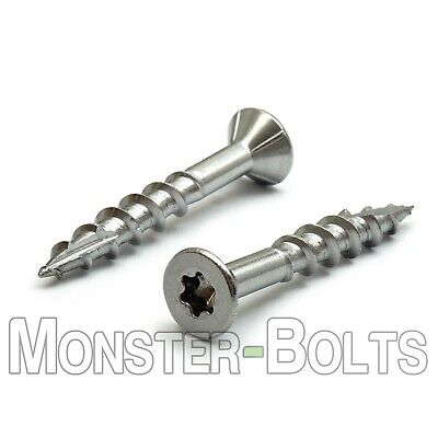 """#8 X 1-5//8/"""" FLAT HEAD SQUARE DRIVE DECK SCREW 18-8 STAINLESS STEEL TYPE 17 POINT"""