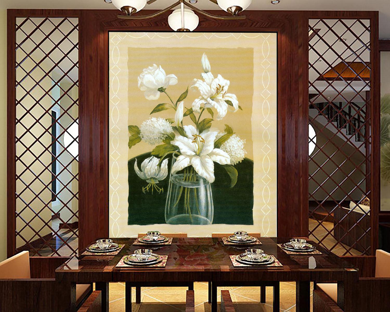 3D Painted Flowers Weiß 002 Wall Paper Wall Print Decal Wall AJ WALLPAPER CA