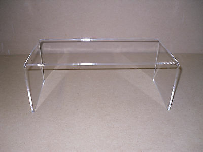 2 X CUPBOARD SHELF RISER CUPBOARD TIDY SPACE SAVER PERSPEX DISPLAY STAND PLINTH