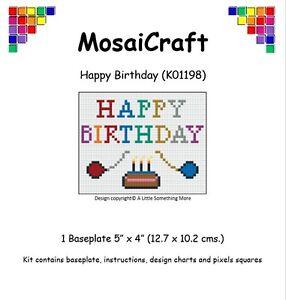 Details About Mosaicraft Pixel Craft Mosaic Art Kit Happy Birthday Pixelhobby