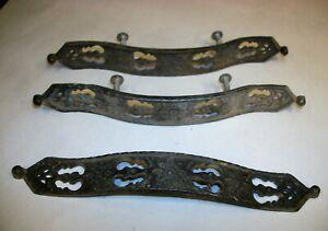 Lot 3 Ornate Cast Metal Vintage Long Dresser Drawer Pulls Handles