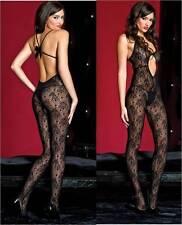 Black Floral Lace Deep V-Neck Open-Back CutOut Crotchless Bodystocking Body Suit