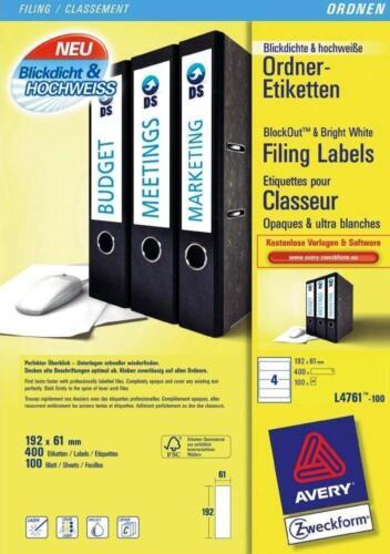400 AVERY ZWECKFORM L4761-100 Ordnerrücken-Etiketten 192 x 61 mm weiß