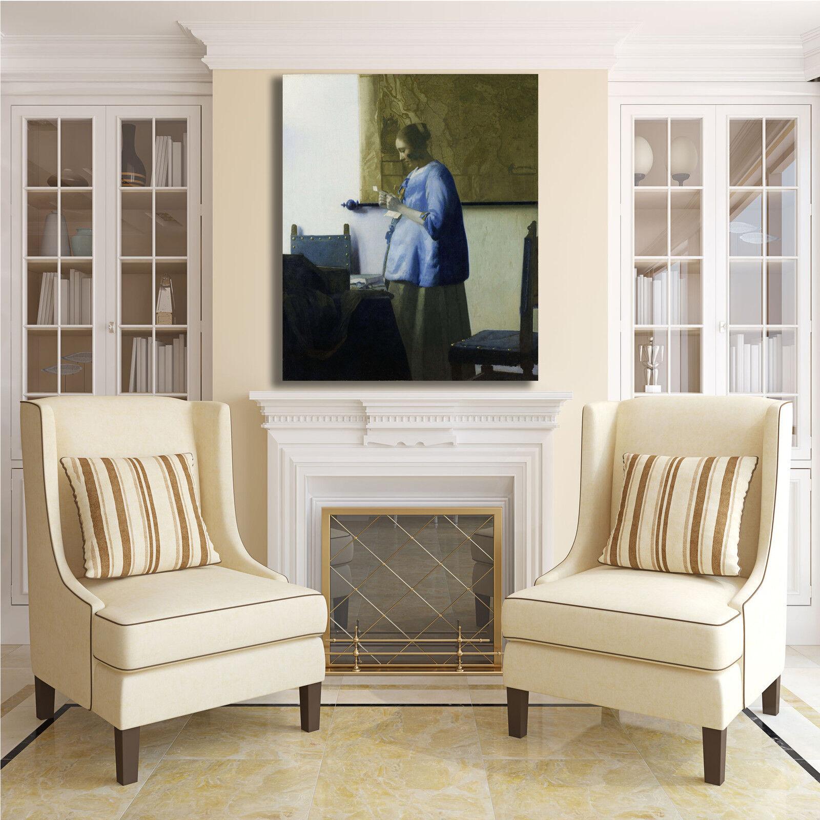 Vermeer  a legge una o lettera quadro stampa tela dipinto telaio arRouge o una casa 603615