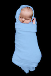 2 x MUSLIN  BABY  WRAPS    Extra Large,  Bright Blue, NEW